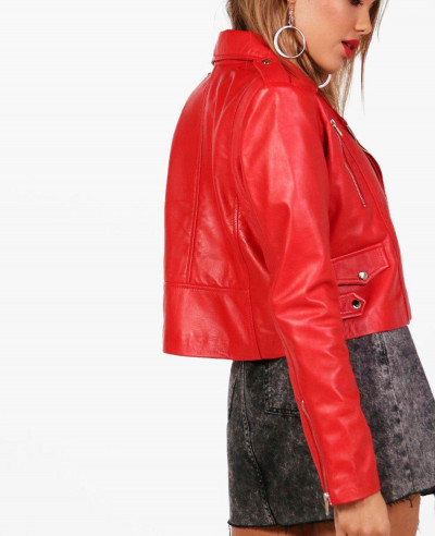 Red Sheep Crop Moto Leather Jacket