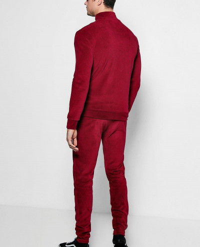 Red Skinny Fit Velvet Tracksuit