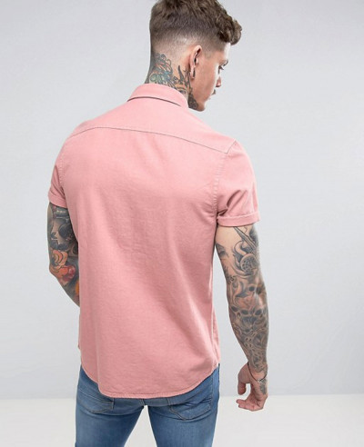 Regular Fit Denim Shirt In Pink