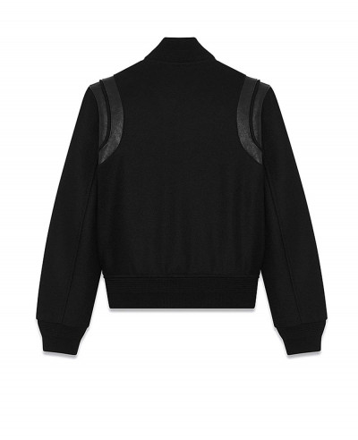Saint Laurent Varsity Jacket In Black Wool