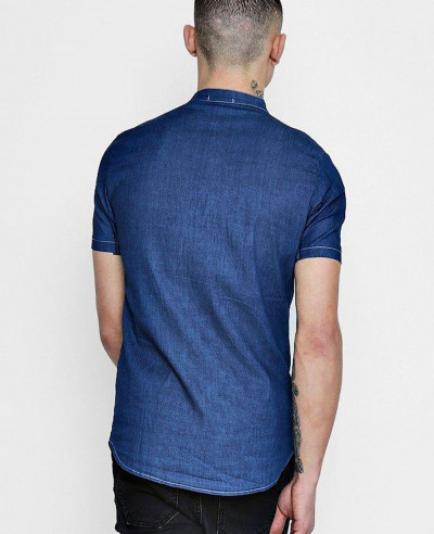 Short-Sleeve-Denim-Chambray-Western-Shirt
