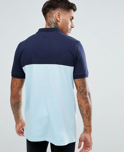 Short Sleeve Polo With Colour Block In Blue