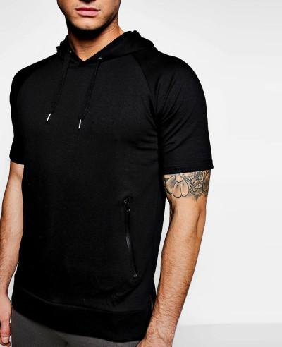 Short Sleeve Raglan Men Charcoal Hoodie