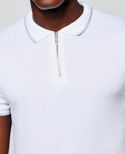 Short Sleeve Zipper With Tipping Polo Shirt