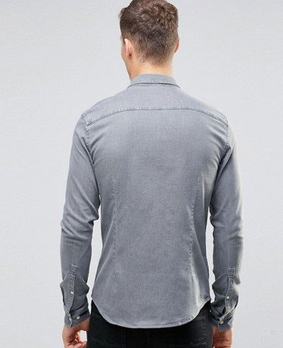 Skinny Denim Shirt In Light Grey