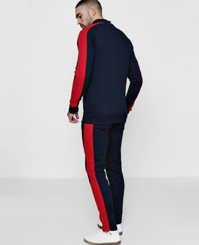 Skinny Fit Funnel Neck Tracksuit With Side Panel