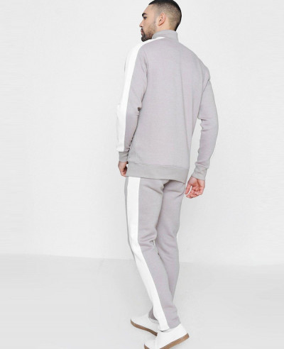Skinny Funnel Neck Tracksuit With Side Panels
