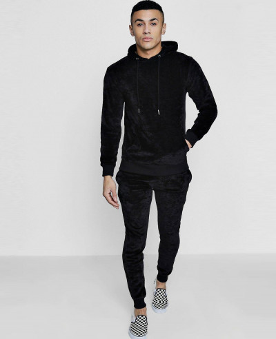 Skinny Velour Hooded Tracksuit
