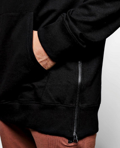 Skinny Fit Custom Branded Side Zipper Black Hoodie