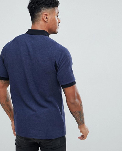 Slim Fit Colour Block Pique Polo Shirt In Navy