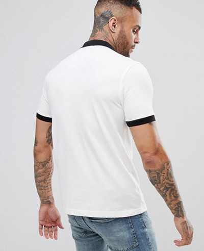 Slim Fit Matt Tipped Pique Polo Shirt In White