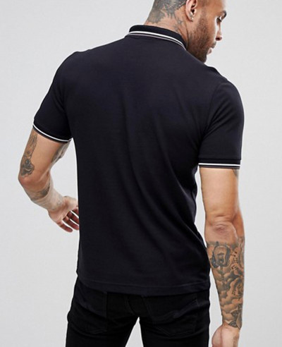 Slim Fit Twin Tipped Polo Shirt In Black