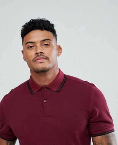Slim Fit Twin Tipped Polo Shirt In Burgundy