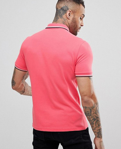 Slim Fit Twin Tipped Polo Shirt In Coral