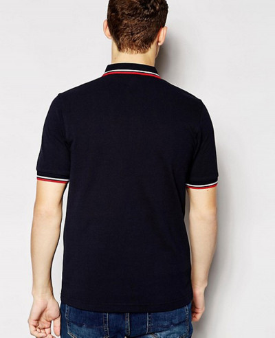 Slim Fit Twin Tipped Polo Shirt in Navy