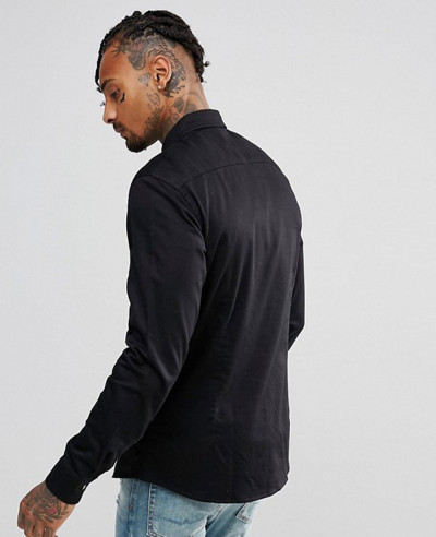 Slim-Stretch-Denim-Shirt-In-Black
