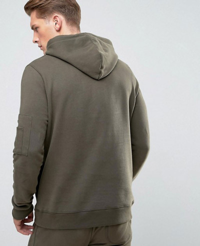 Soft Feel Pullover Hoodie With Pocket In Khaki