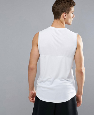 Sport Vest With Mesh Panel In White