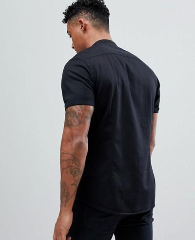 Stretch-Slim-Denim-Shirt-With-Grandad-Collar