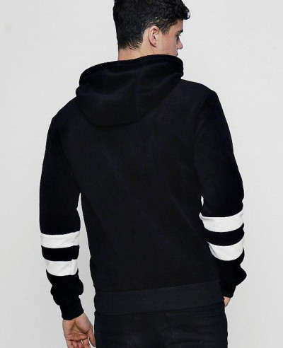 Stripe Sleeve Fleece Pullover Black Hoodie