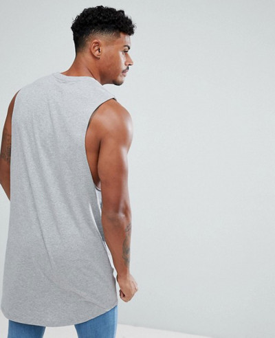Super Longline Vest with Curve Hem In Grey