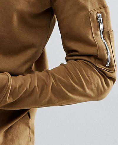 Sweat With Zip Pocket Detail In Khaki
