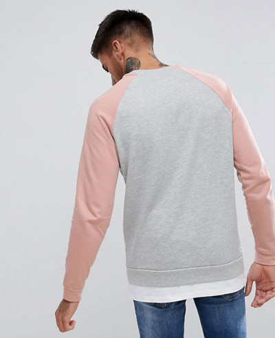 Sweatshirt With Hem Extender In Pink And Grey Marl