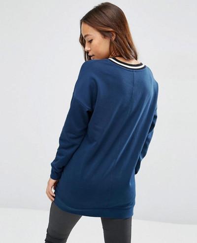 Sweatshirt-With-Stripe-Tipping-In-Longline
