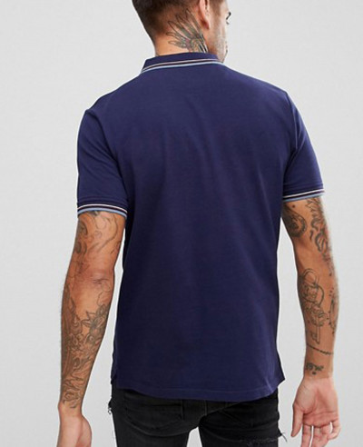 Tipped Polo Shirt In Navy