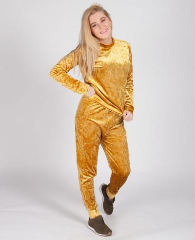 Velour Velvet Loungewear Set Tracksuit Mustard Gold