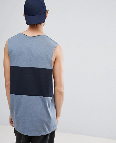 Vest-With-Dropped-Armhole-and-Contrast-Panel-In-Blue-Tank-Top