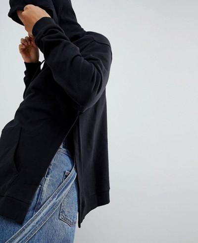 Women Black Hoodie with Side Split Detail