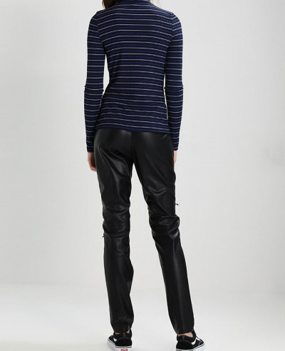Women-Black-Leather-Biker-Moto-Pant