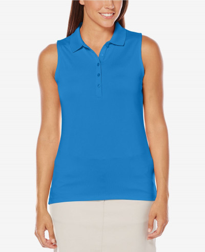 Women-Blue-Sleeveless-Golf-Polo-Shirt