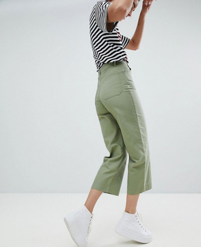 Women-Cropped-Wide-leg-Trousers-In-khaki