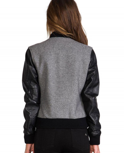 Women Fashion Leather Sleeve Wool Varsity Jacket
