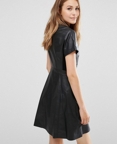Women-Faux-Leather-Shirt-Dress-with-Short-Sleeves