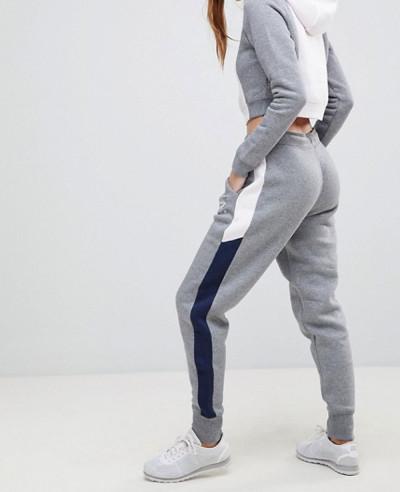 Women-Grey-Colorblock-Regular-Fit-Sweatpant-Jogger