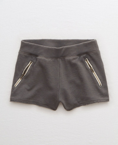 Women-Gym-Charcoal-Fleece-Zipper-Pocket-Short