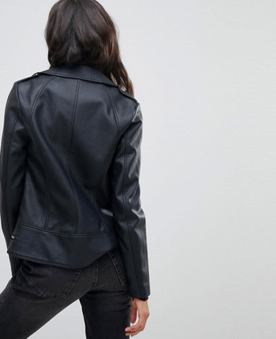 Women High Quality Custom Leather Look Biker Jacket