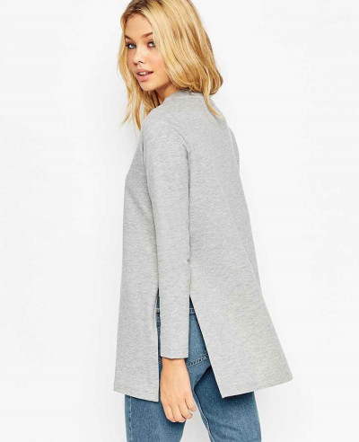 Women-Longline-Sweat-With-Side-Splits-Gray-Sweatshirt