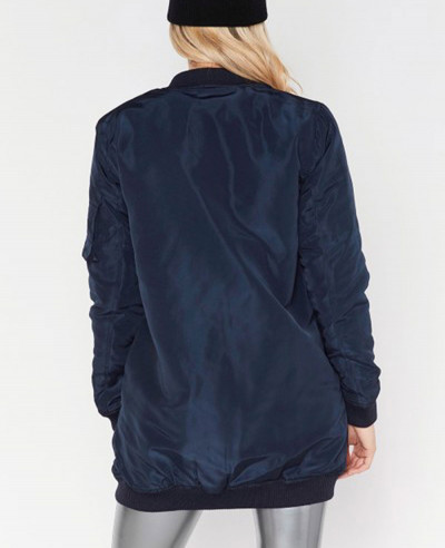 Women Navy Blue Custom Stylish Bomber Varsity Jacket