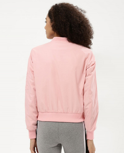 Women Pink Satin Cropped Bomber Varsity Jacket