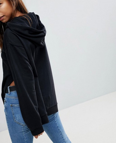 Women-Pullover-Black-Hoodie-With-Side-Split-Detail