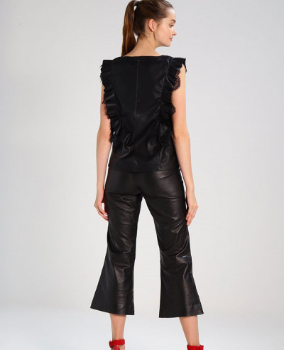Women-Real-Lamb-Leather-Laces-Up-Pants-Sexy-Slim-Fit-Biker-Leather-Pant