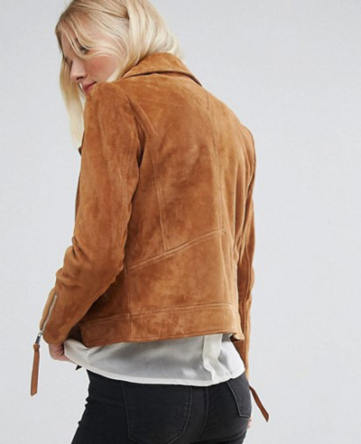 Women Real Suede Biker Leather Jacket