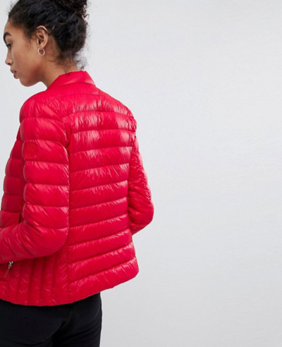 Women-Red-Fitted-Down-Quilted-Padded-Jacket