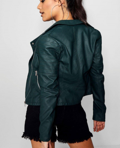 Women Sheep Biker Leather Jacket