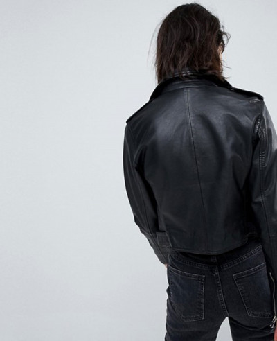 Women Short Leather Biker Jacket