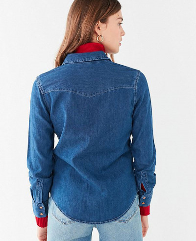 Women-Western-Stitch-Denim-Shirt